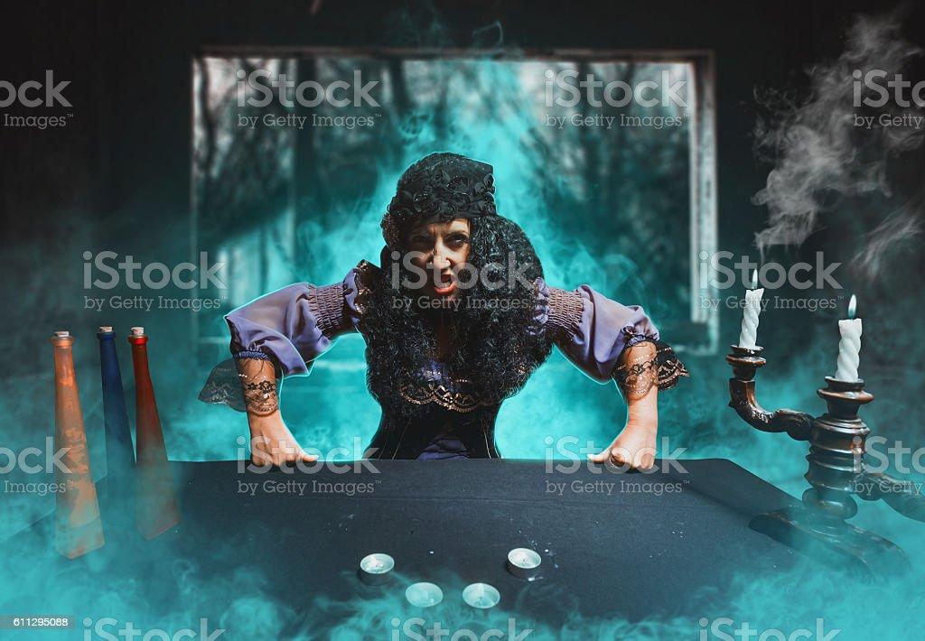 Angry sorceress stock photo