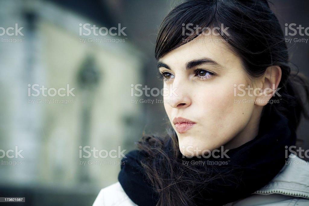 angry spanish girl stock photo