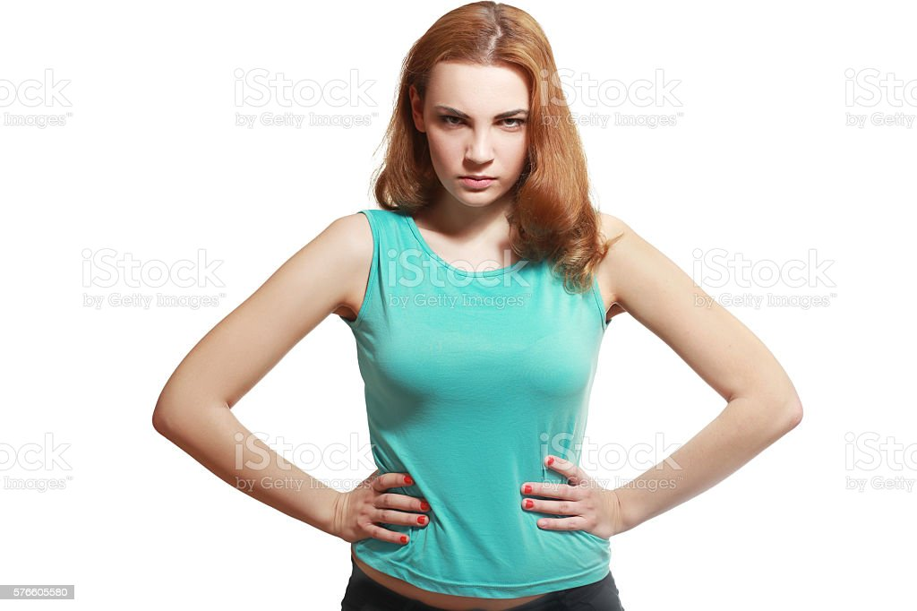 angry suspicious young woman stock photo