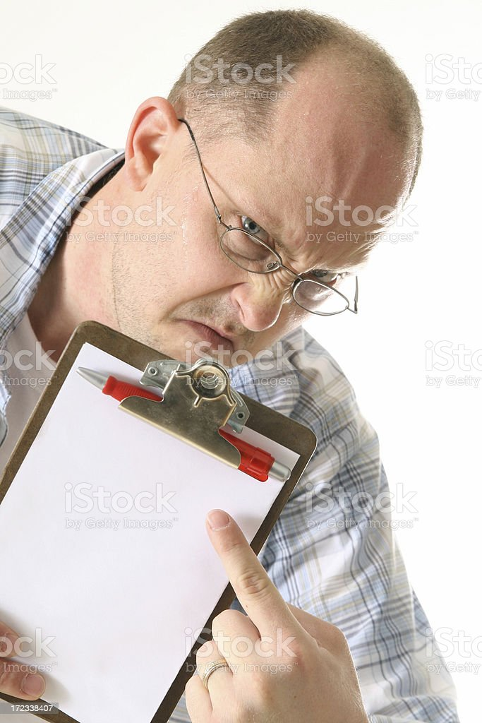 Angry sweaty man with blank clipboard royalty-free stock photo