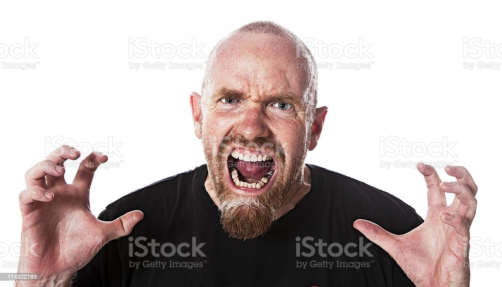 Angry sweaty red-faced man stock photo