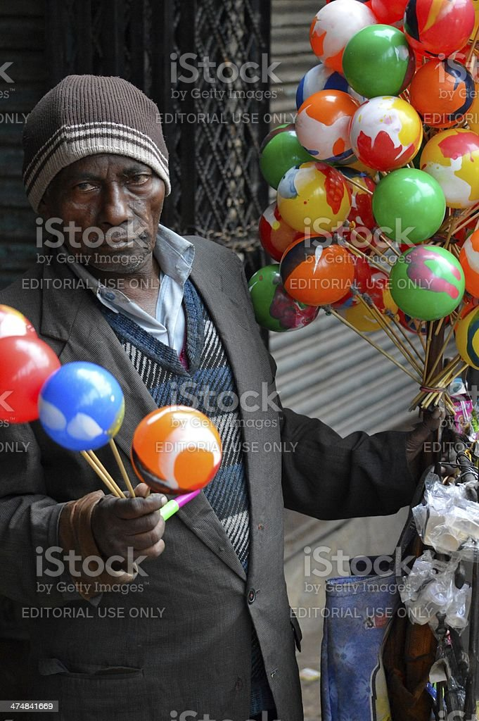 Angry toy salesman stock photo