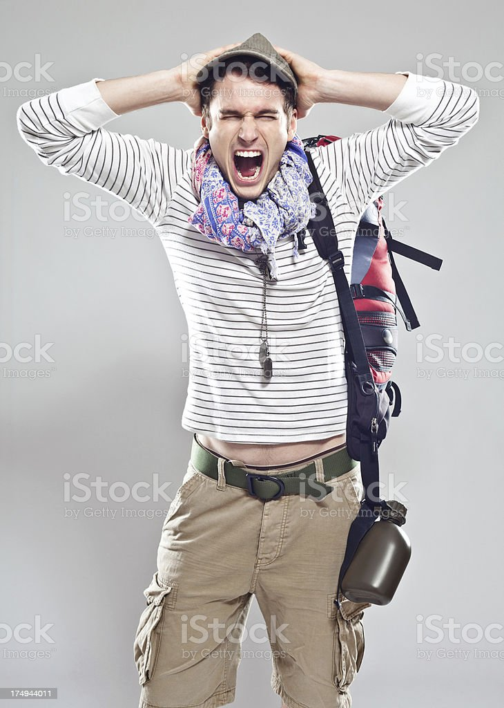 Angry traveller royalty-free stock photo