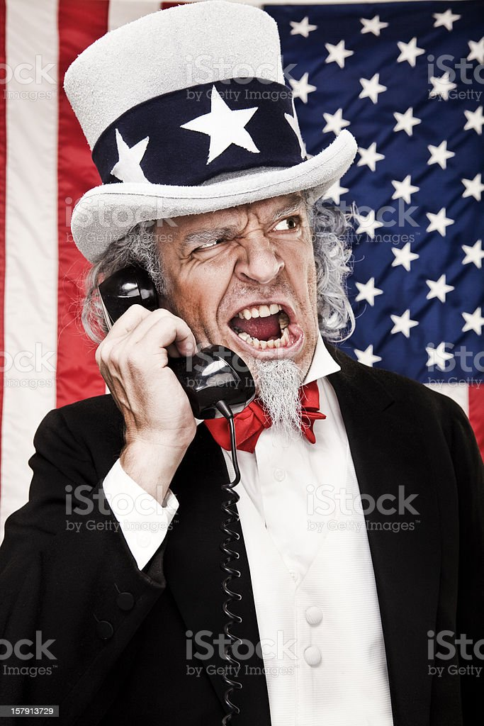 Angry Uncle Sam on Telephone royalty-free stock photo
