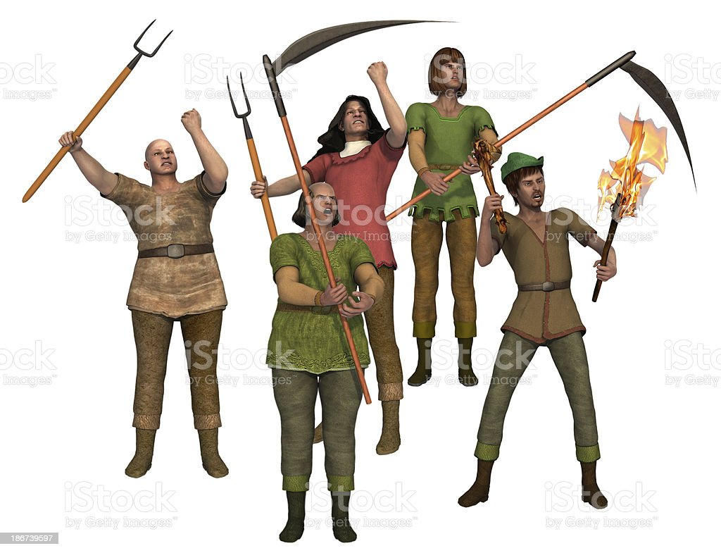 Angry villagers with pitchforks stock photo