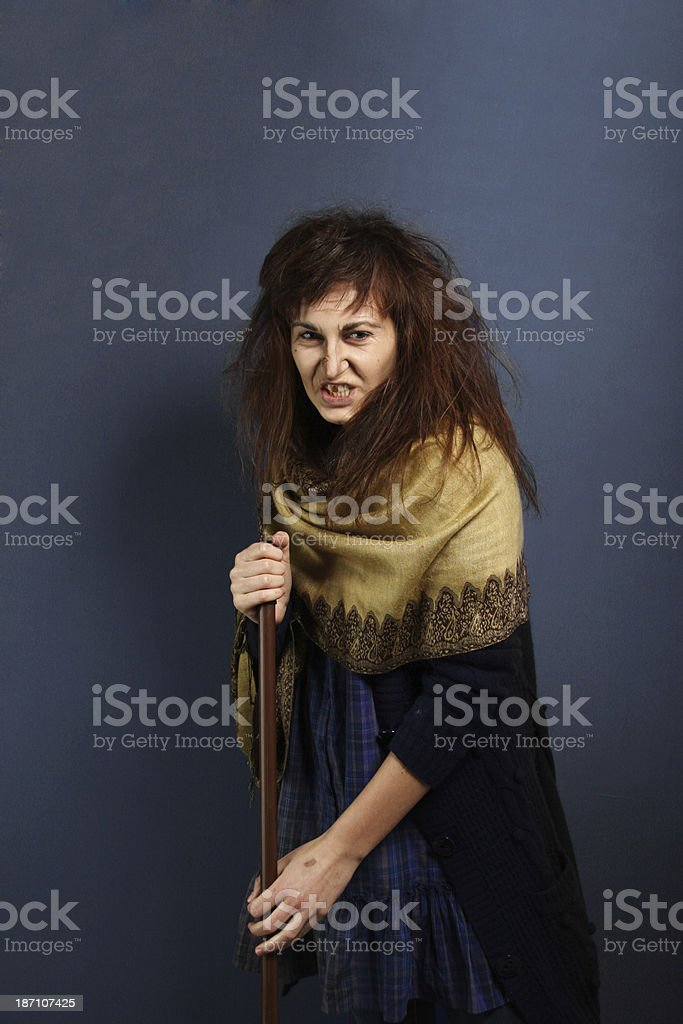 Angry witch stock photo