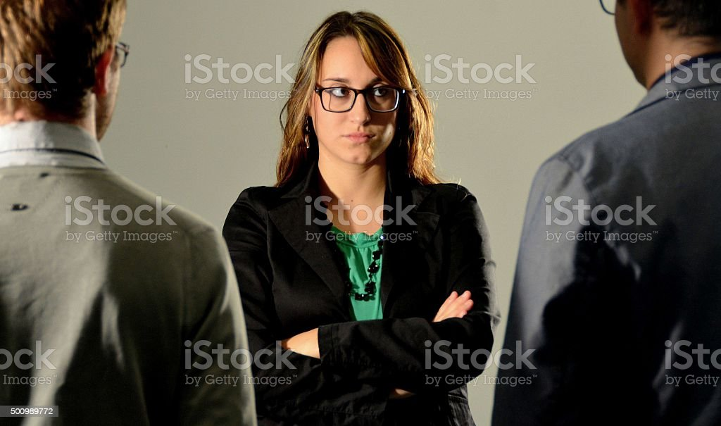 Angry woman boss stock photo