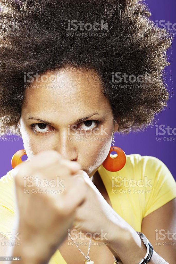 angry woman boxing stock photo