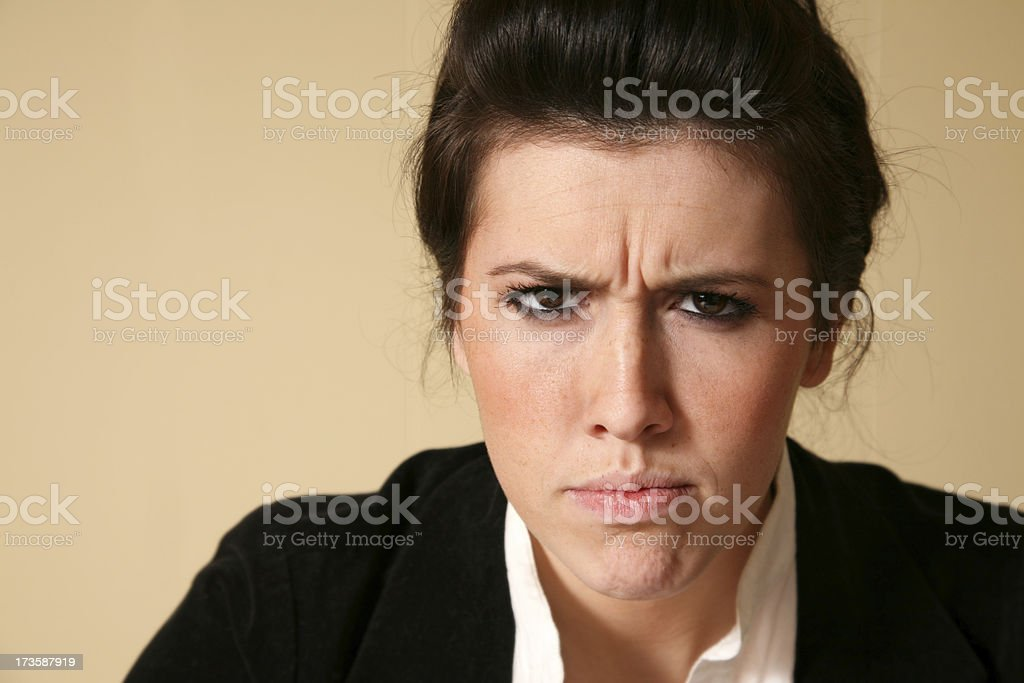 Angry Woman Frowning And Very Unpleased royalty-free stock photo