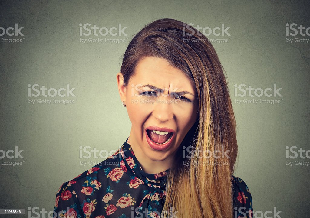 angry woman having nervous breakdown screaming crying stock photo