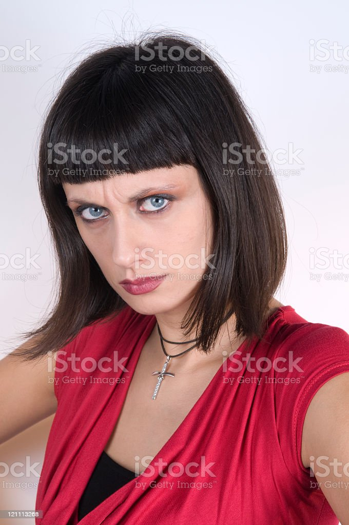 Angry Woman Looking at Camera royalty-free stock photo
