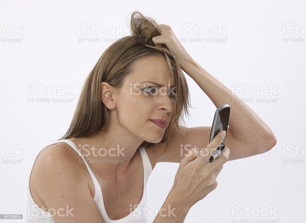 Angry woman on phone royalty-free stock photo