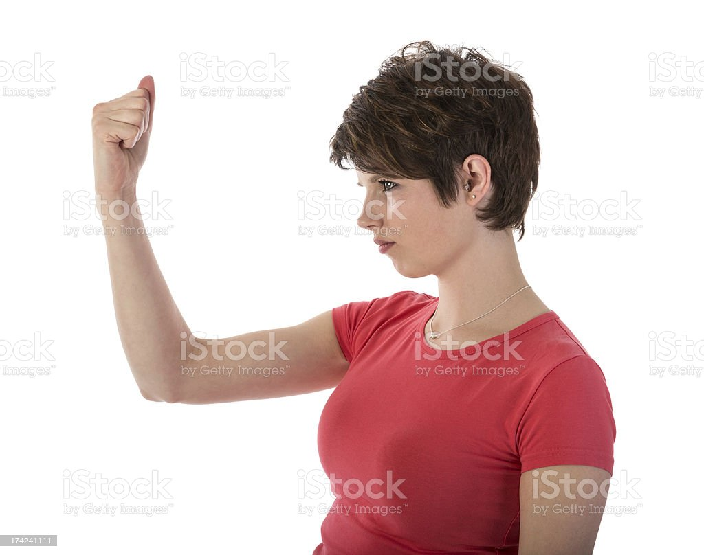 Angry woman showing her fist royalty-free stock photo
