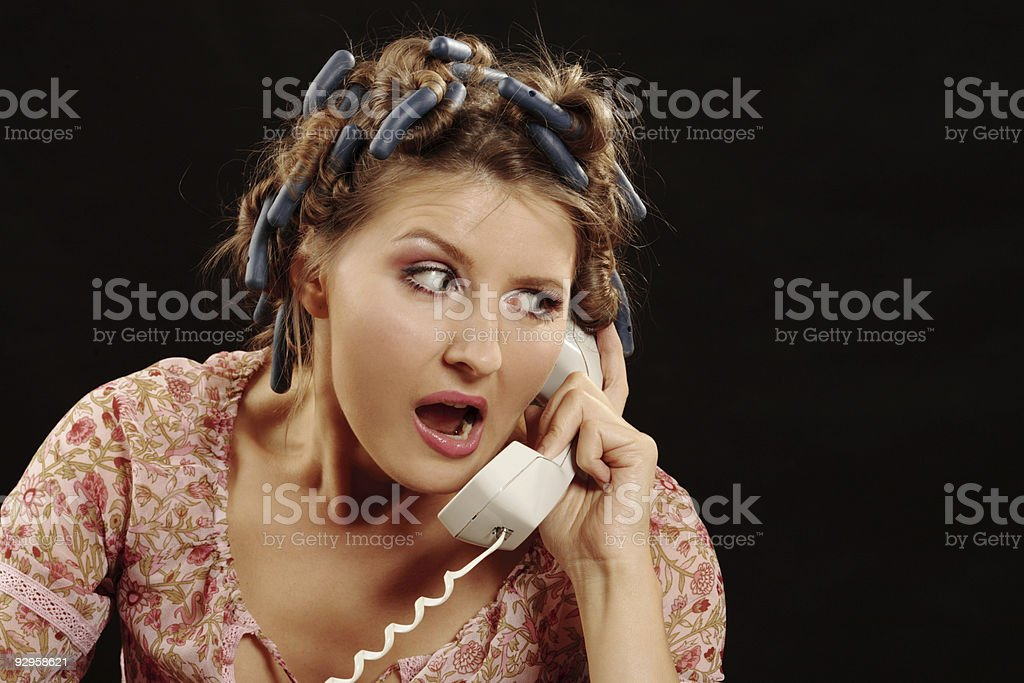 Angry Woman speaking phone royalty-free stock photo