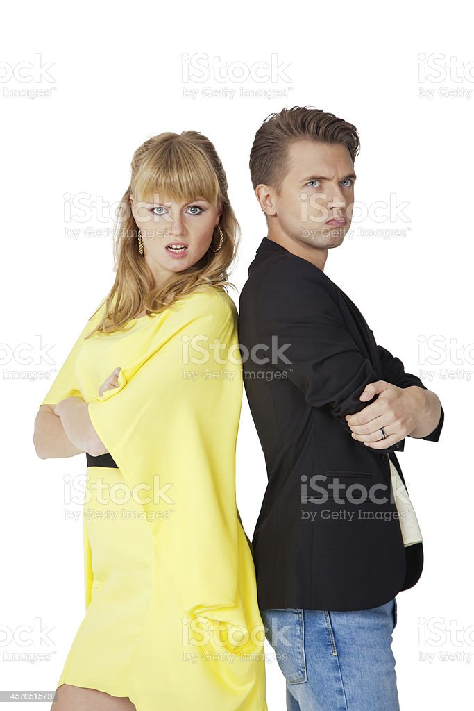 angry young couple stock photo