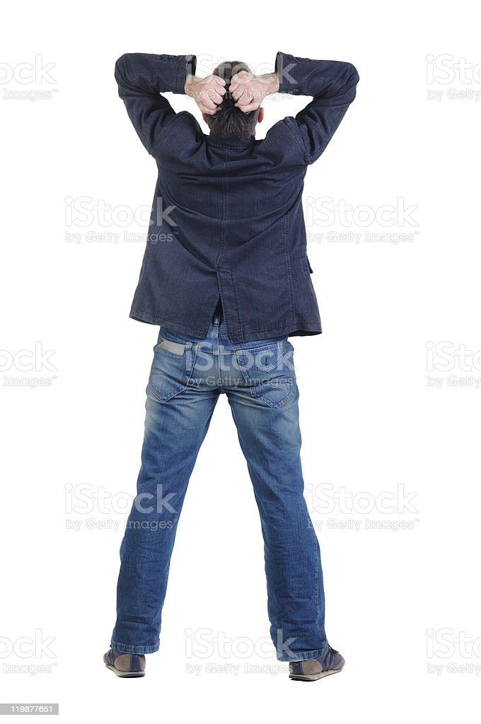 angry young man. Rear view. royalty-free stock photo