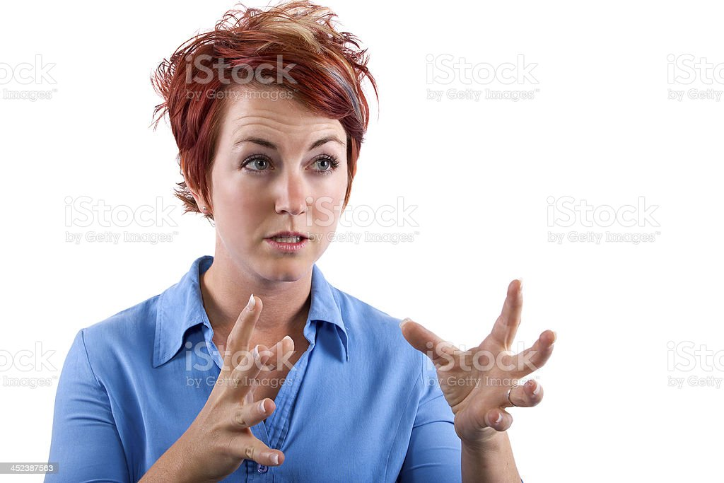 Angry Young Redhead Waitress Reacting to Stress royalty-free stock photo