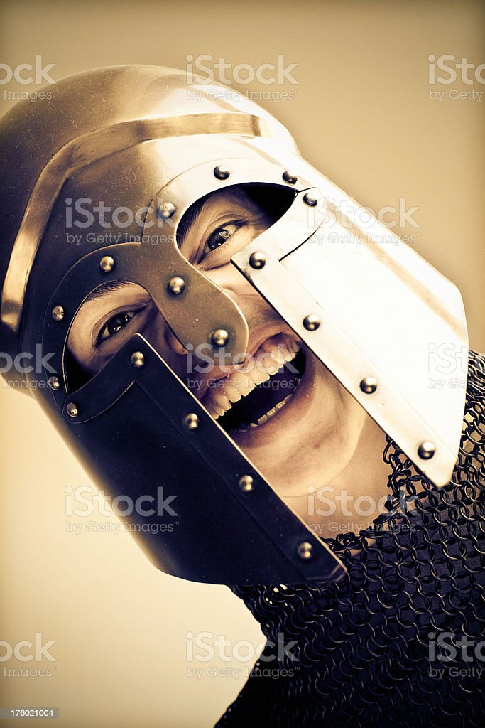 Angry young warrior royalty-free stock photo