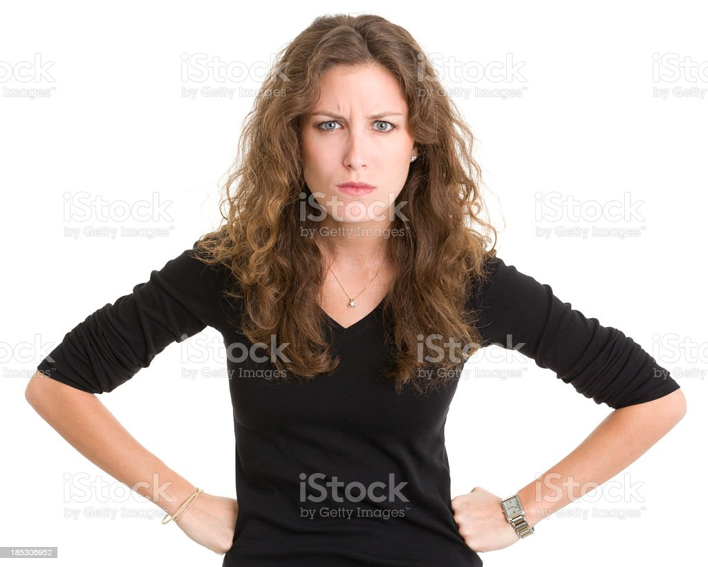 Angry Young Woman Frowning stock photo
