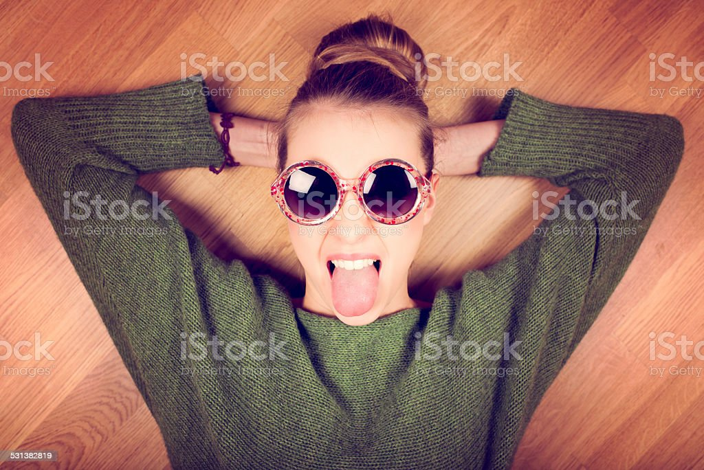 Angry young woman stock photo