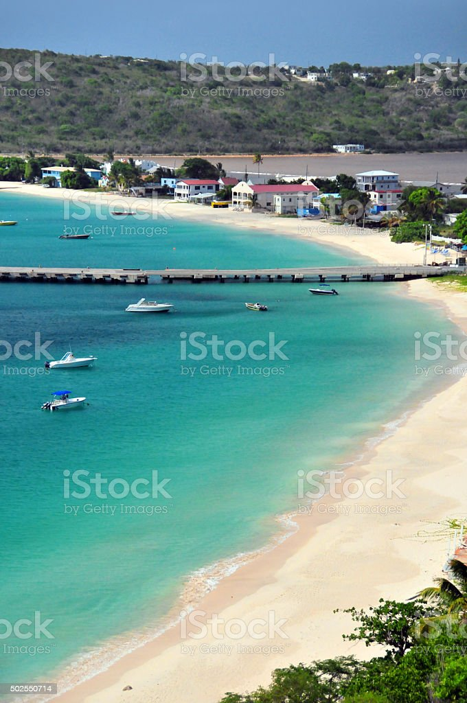 Anguilla: Road bay beach and the Sandy Ground  cargo pier stock photo