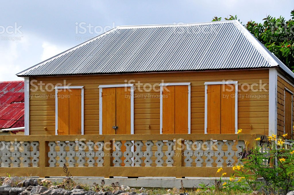 Anguilla: wooden cottage stock photo