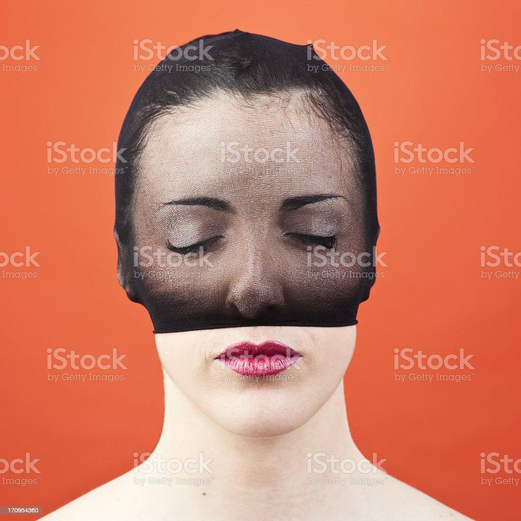 Anguish face hidden. royalty-free stock photo