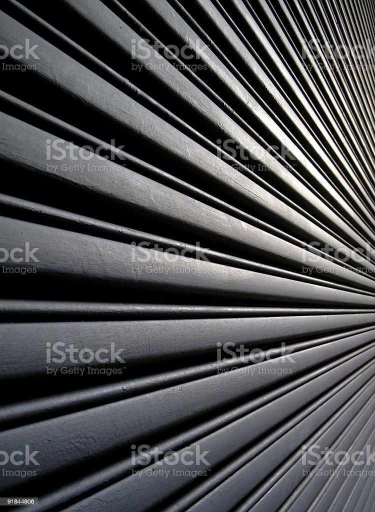 Angular view of metal garage stock photo