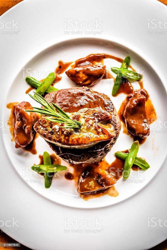 Angus Beef Tenderloin Filet  Foie Gras, stock photo