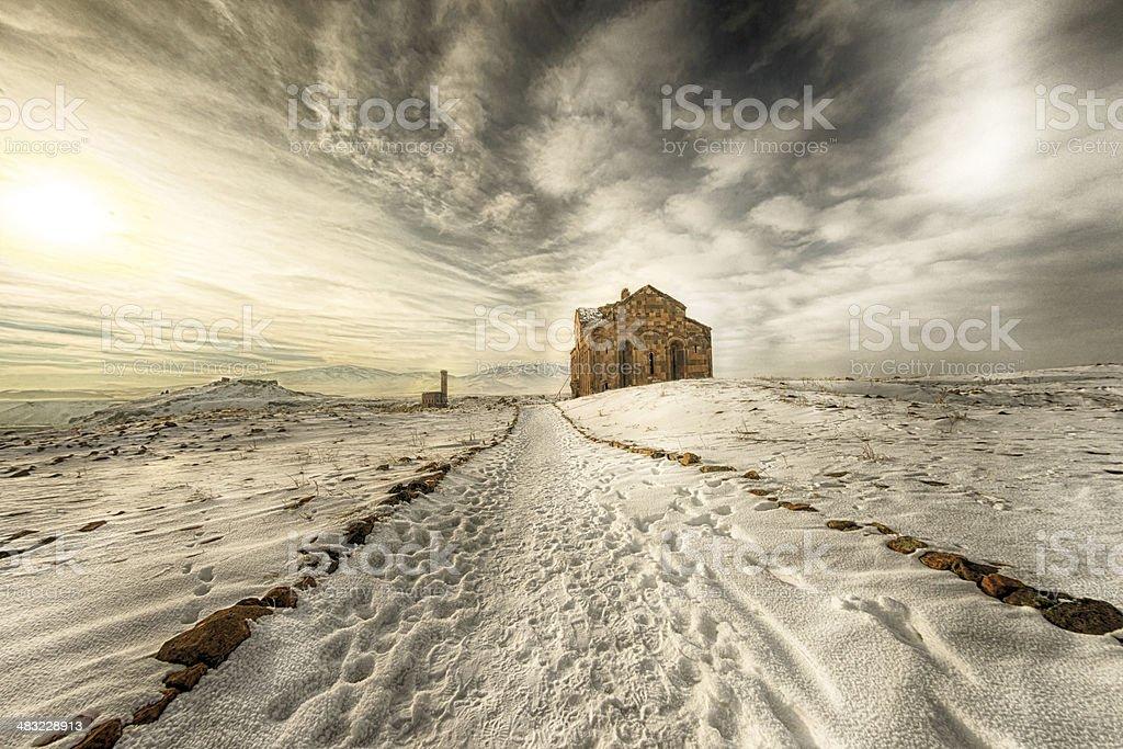 Ani Ruins Winter  Panorama (4 Season) stock photo