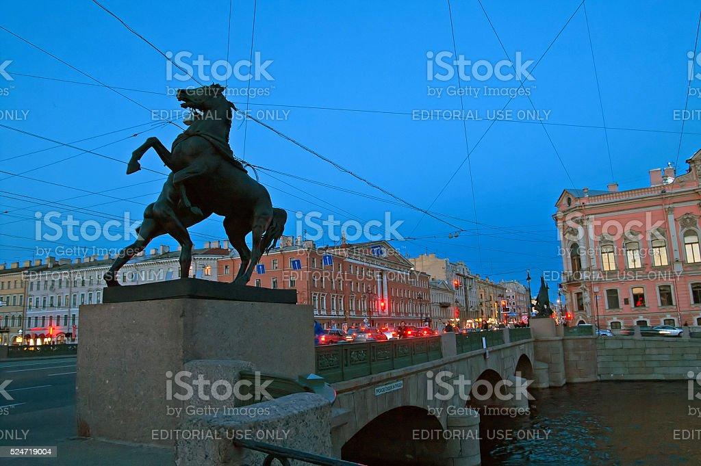 Anichkov Bridge with sculptures of horses, Saint-Petersburg, Russi stock photo