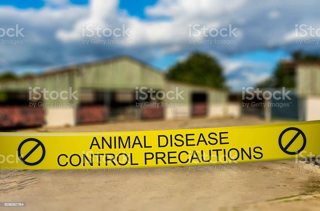Animal Disease Control Precautions - Closed Farm stock photo