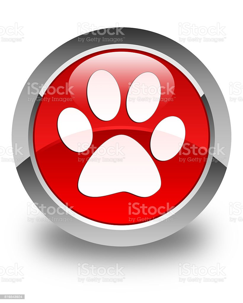 Animal footprint icon glossy red round button stock photo