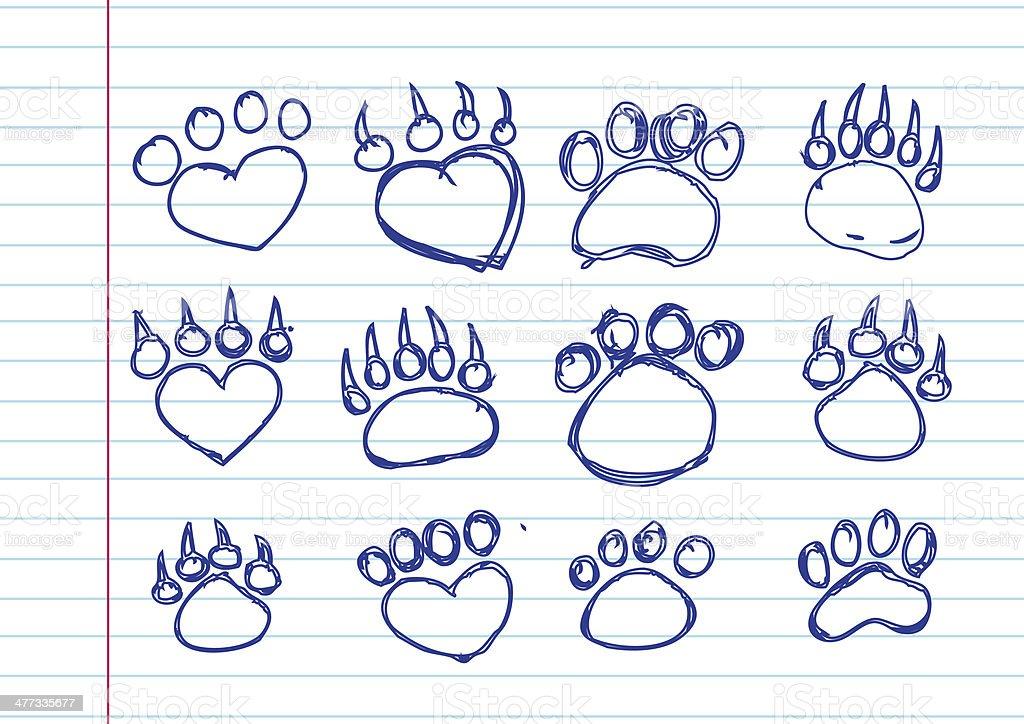 Animal footprints silhouettes royalty-free stock photo