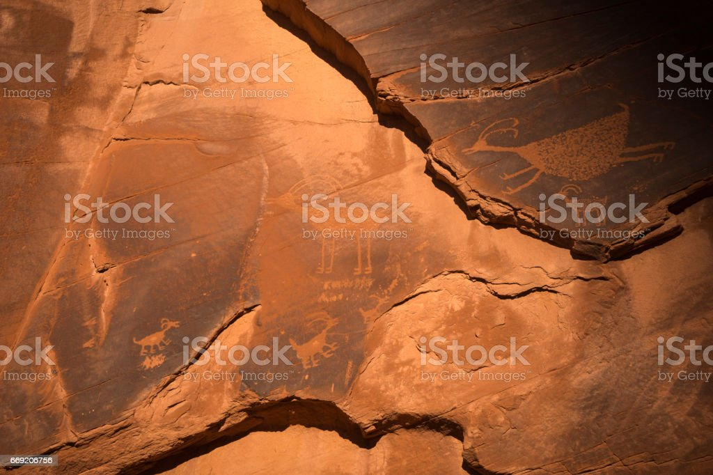 Animal rock art in Monument Valley stock photo