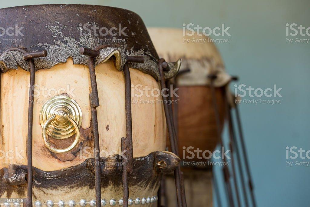 animal skin making taiko drum stock photo