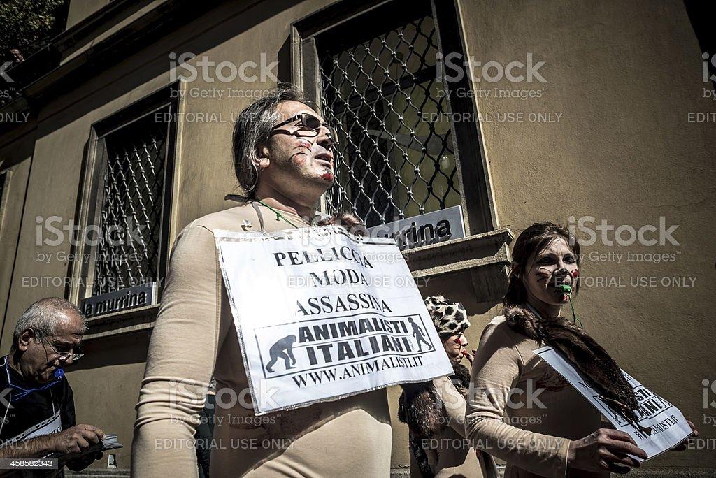 Animalisti Italiani protest against Milan Fashion Week on Septem royalty-free stock photo