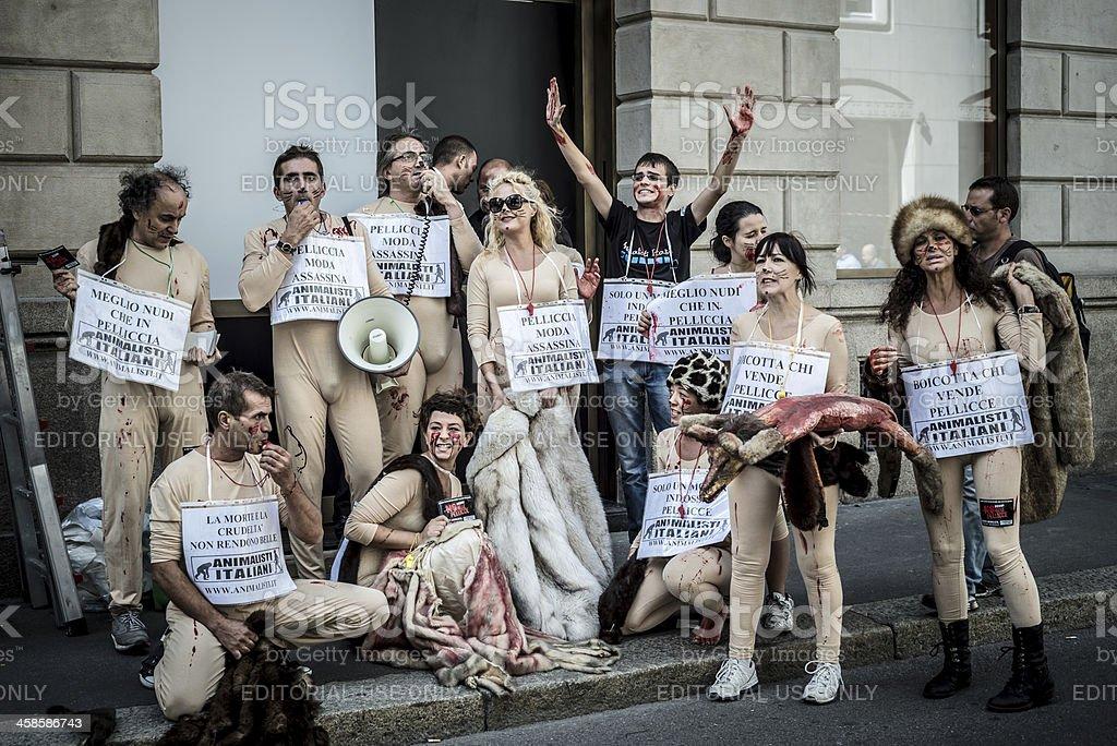 Animalisti Italiani protest against Milan Fashion Week on Septem stock photo