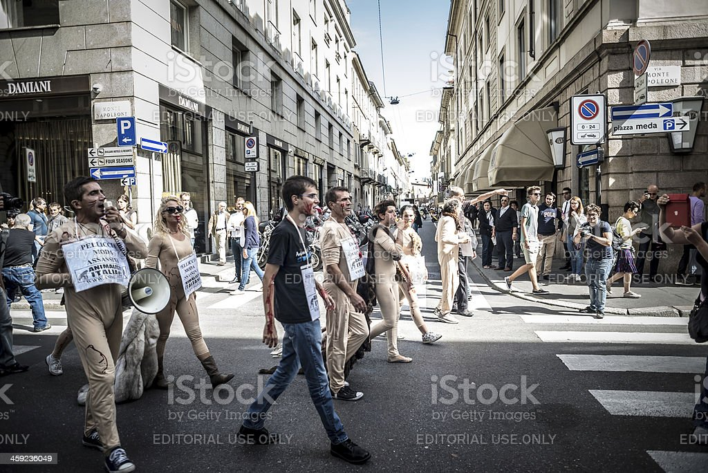 Animalisti Italiani protest against Milan Fashion Week on Septem royalty-free stock photo