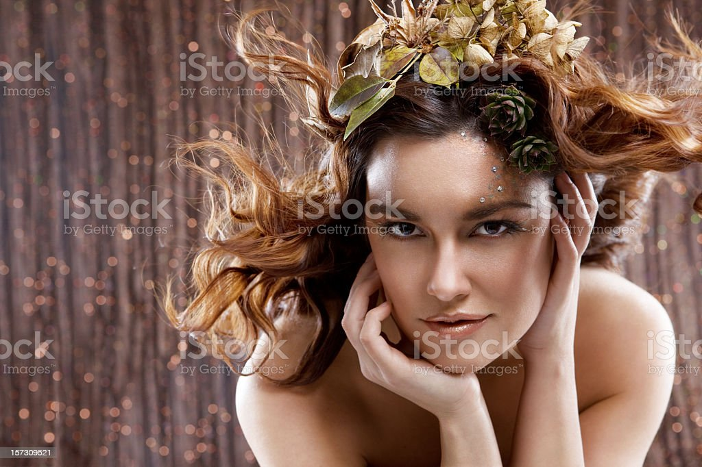 Animalistic Sexy Fashion Model in Professional Hair and Makeup, Copyspace royalty-free stock photo
