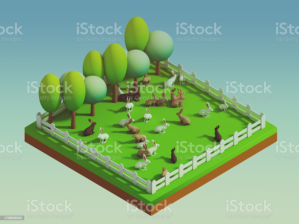 animals in the landscape, isometric view stock photo