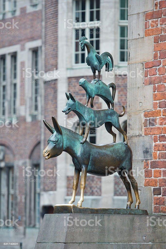Animals musician copper statue in Bremen grimm fable stock photo