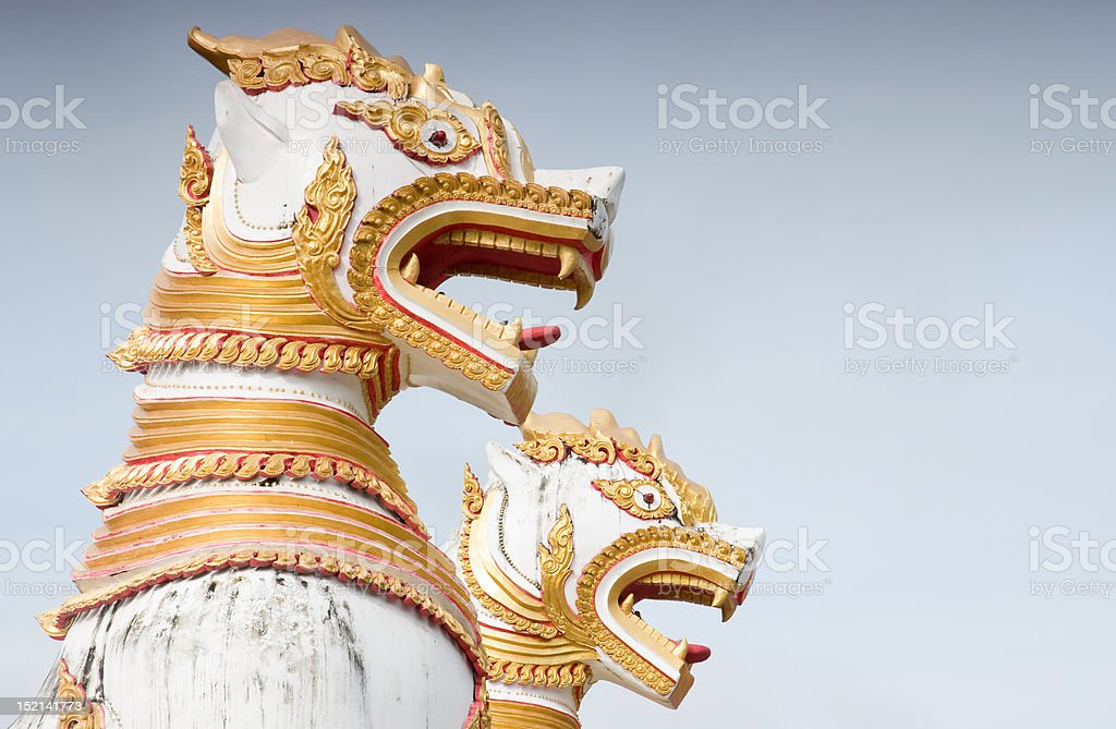 animals mythology in front of Thai temple royalty-free stock photo