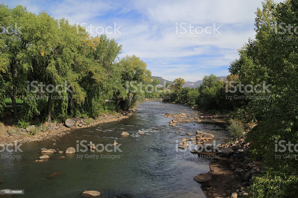 Animas River in Durango, Colorado stock photo