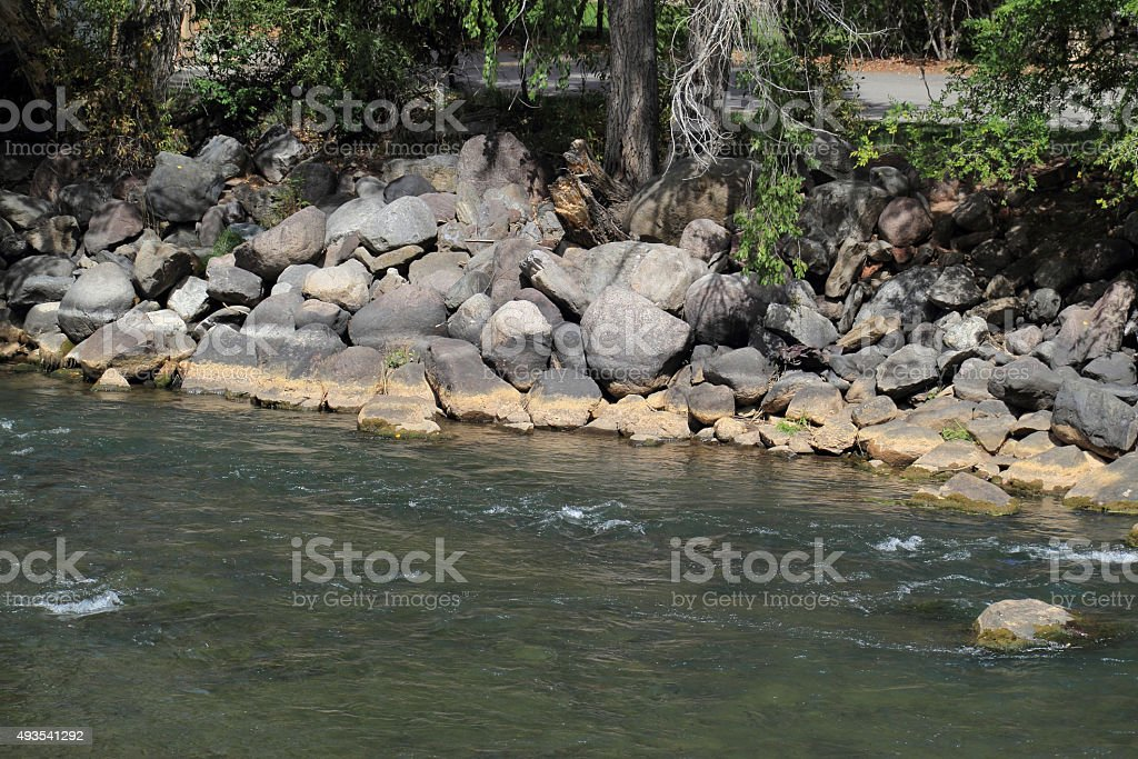 Animas River Shoreline Showing Gold Mine Wastewater Residue stock photo