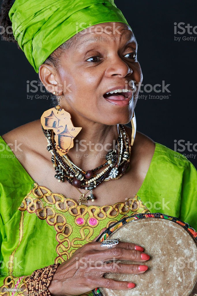 Animated African American Story Teller With Drum stock photo