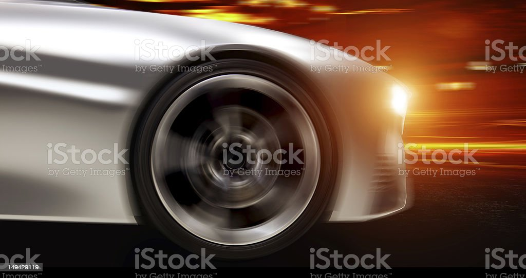 Animated car moving with red streak background  stock photo