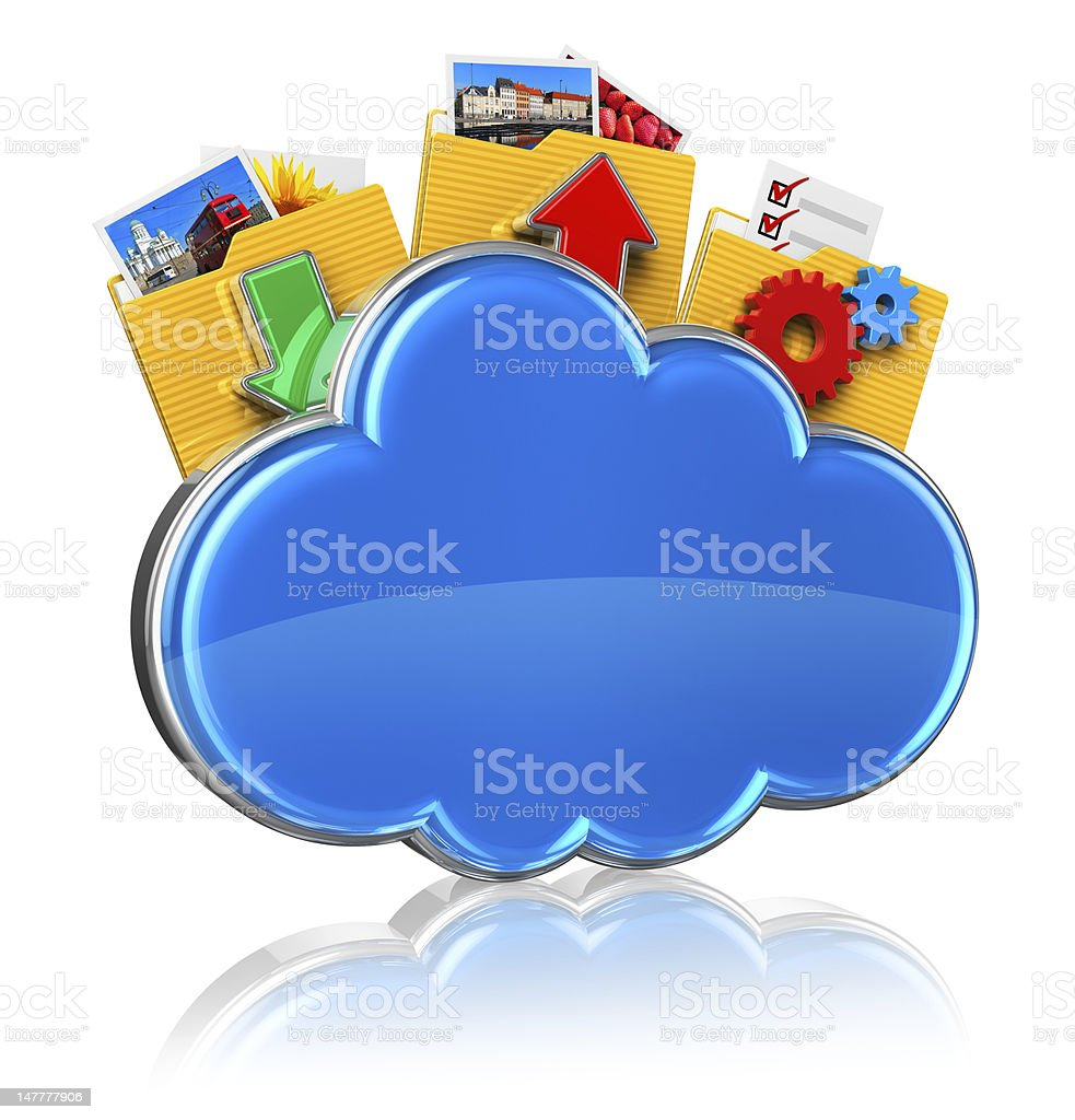 Animated cloud with arrows and gadgets coming out stock photo