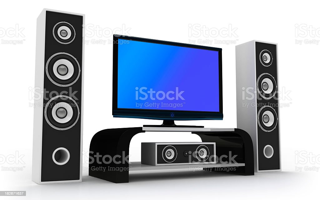 Animated design of home theater and speakers stock photo