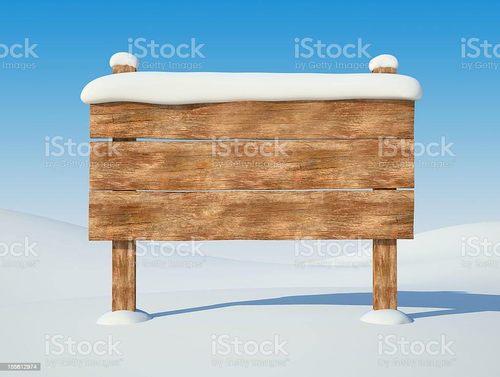 Animated empty wooden billboard covered in fresh snowfall royalty-free stock photo